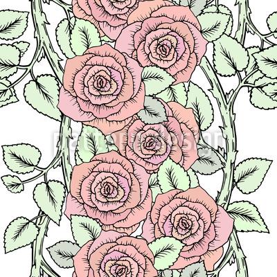 Niedliche Rosen auf Zweigen Nahtloses Muster