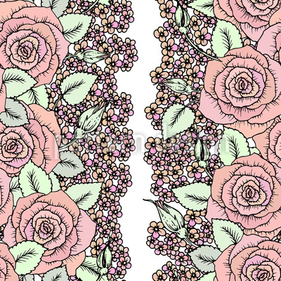 Roses and Little Flowers Seamless Vector Pattern Design