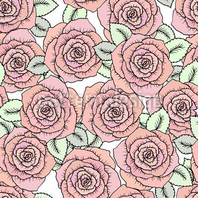 Rosas de conto de fadas Design de padrão vetorial sem costura