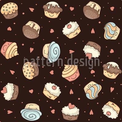 宇宙のカップケーキ シームレスなベクトルパターン設計