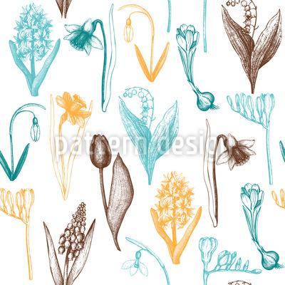 Spring Flower Sketches Seamless Vector Pattern Design