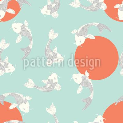 Japanese Koi Seamless Vector Pattern Design