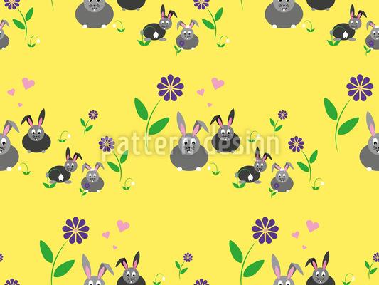 Hasenfamilie auf einer Blumenwiese Designmuster