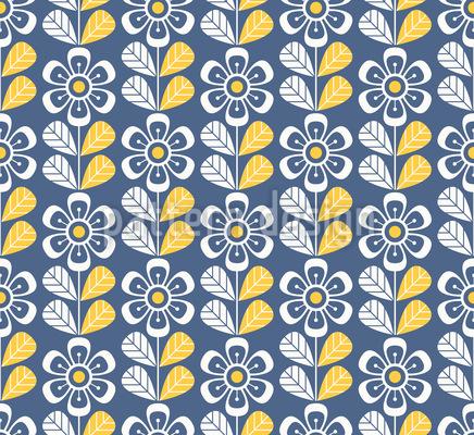 Retro-Blumenwiese Rapportiertes Design