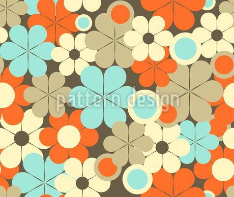 Retro Pop Flowers Seamless Vector Pattern