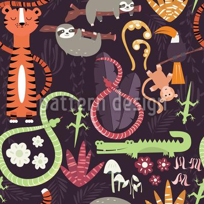 Dschungeltiere Nahtloses Vektormuster