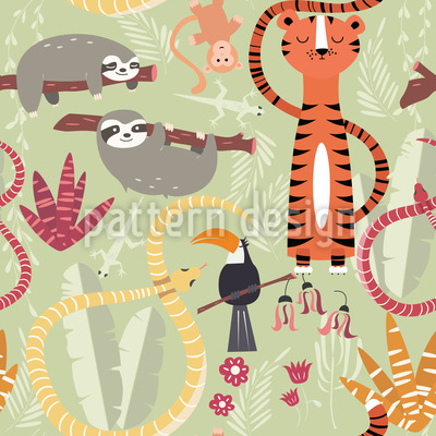 Group of Jungle Animals Seamless Vector Pattern Design