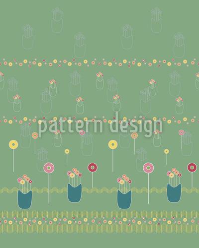 Lollipop-Blumenwiese Nahtloses Vektormuster