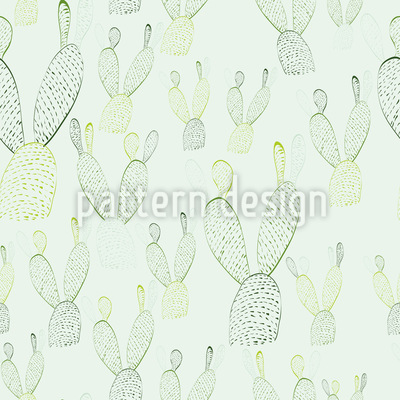 Nopal Cactus Bunny Ears Seamless Vector Pattern Design