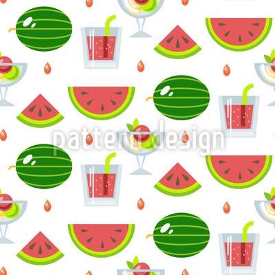 Eis Und Melonen Nahtloses Vektor Muster