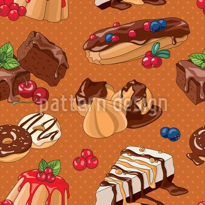Liebliche Desserts Nahtloses Vektormuster