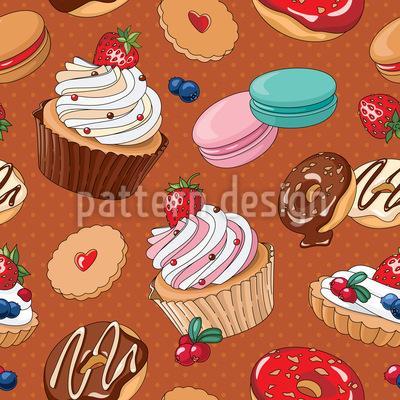 Apaixonado por sobremesas Design de padrão vetorial sem costura
