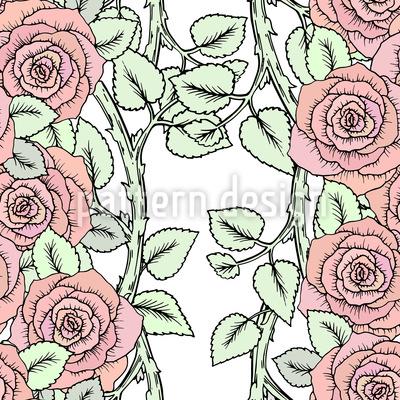 Rosen Auf Zweigen Nahtloses Muster