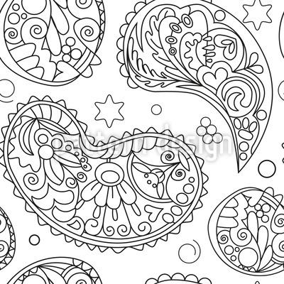 Blumen-Linien Nahtloses Vektor Muster