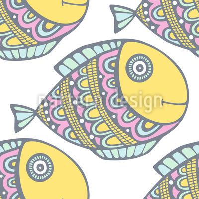 Doodle-Fische Vektor Muster
