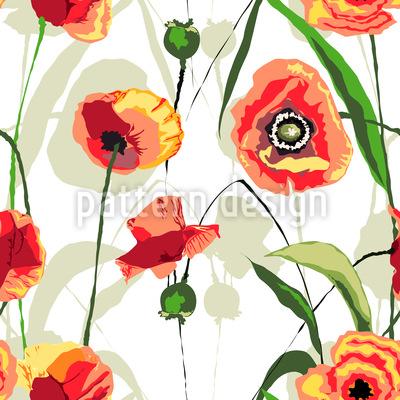 Papoila do sol Flores Design de padrão vetorial sem costura