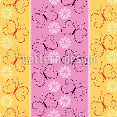 Streifen mit Schmetterlingen und Blüten Musterdesign