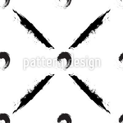 Künstlerische Grunge Kreise und Pinselstriche Nahtloses Muster