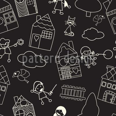 Kindliche Kreidetafelzeichnung Designmuster