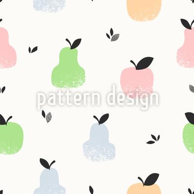 Früchte Und Blätter Nahtloses Muster