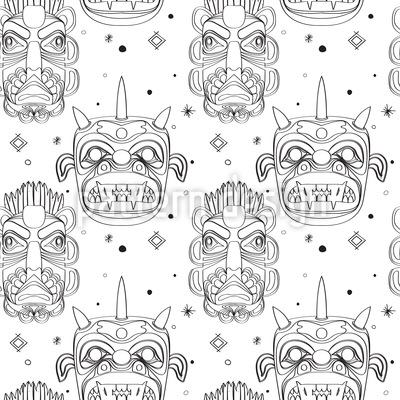 Inca Masks Seamless Vector Pattern Design