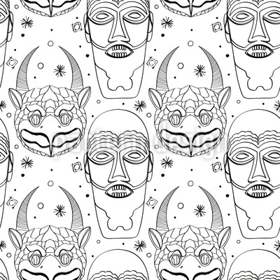 Maya Magic Masks Vector Pattern