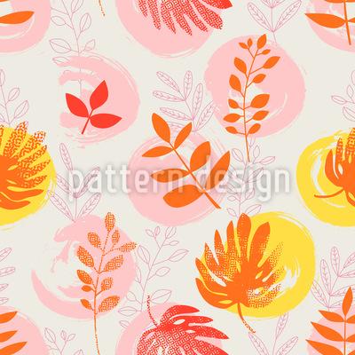 Botanischer Pinselstrich Musterdesign