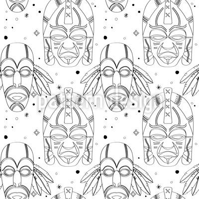 Máscaras Mágicas Inca Design de padrão vetorial sem costura