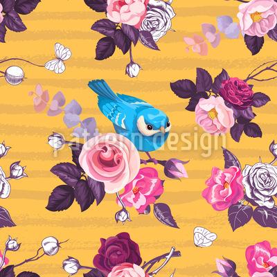 Pássaros no jardim de rosas Design de padrão vetorial sem costura