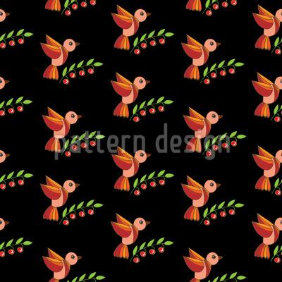 Kirschvögel Nahtloses Vektor Muster