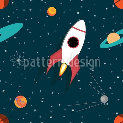 Nave espacial Design de padrão vetorial sem costura