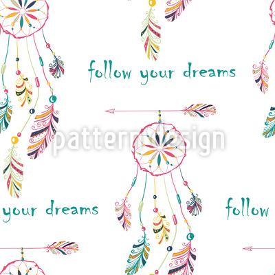 Siga seus sonhos Design de padrão vetorial sem costura