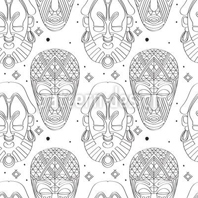 Máscaras tribais assustadoras Design de padrão vetorial sem costura