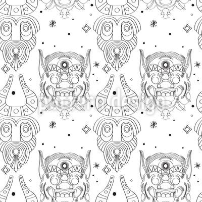Máscaras Incas Assustadoras Design de padrão vetorial sem costura