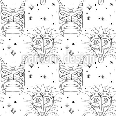 Máscaras maias assust Design de padrão vetorial sem costura