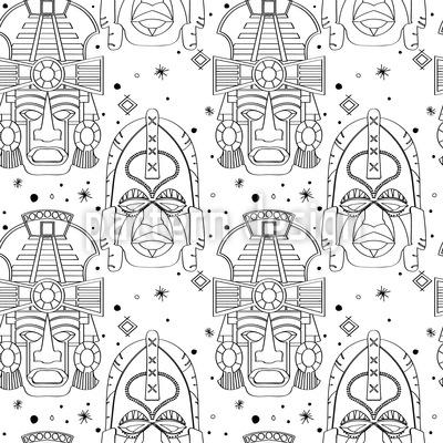 Inca Ritual Masks Seamless Vector Pattern Design
