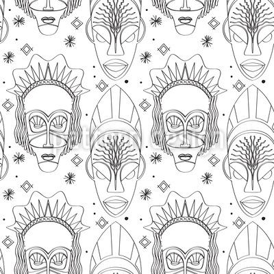 African Gods Seamless Vector Pattern Design