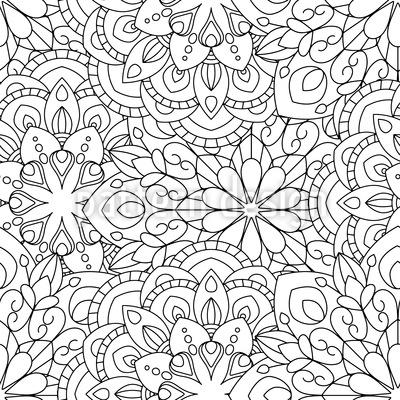 To Fill In Mandala Seamless Pattern