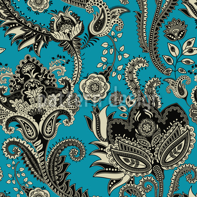 Ethnic Flowers Seamless Vector Pattern Design