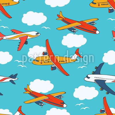 Wolken und Flugzeuge Nahtloses Muster