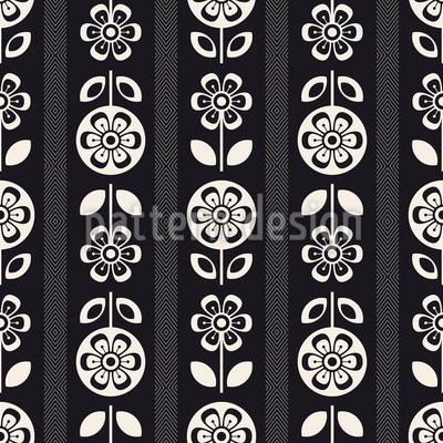 Retro Monochrome Blumen und Blätter Rapportiertes Design