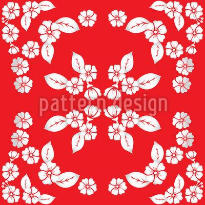 Japanische Blüten Nahtloses Vektor Muster