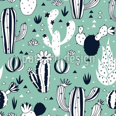 Kaktusgarten Nahtloses Vektor Muster