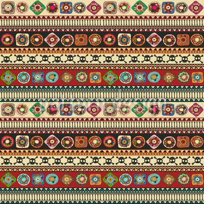 Aztekische Bordüre mit floralen Elementen Designmuster