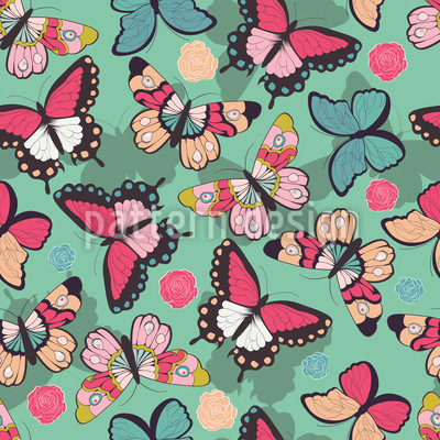 Butterflies With Shadows Pattern Design