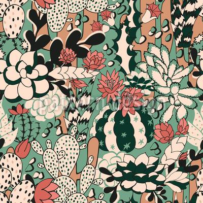 サボテンと植物 シームレスなベクトルパターン設計