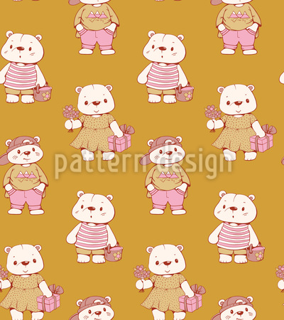 Glückliche Teddys Vektor Muster