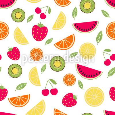 Fresh Summer Fruits Seamless Vector Pattern Design