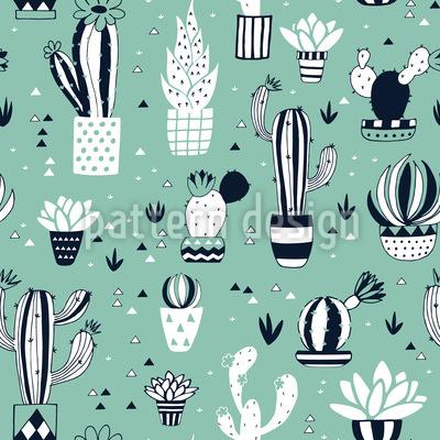 Kaktus Im Blumentopf Nahtloses Muster