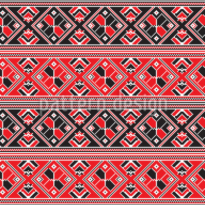 Hungarian Folklore Seamless Vector Pattern Design
